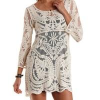 Ivory Long Sleeve Sheer Crochet Shift Dress by Charlotte Russe