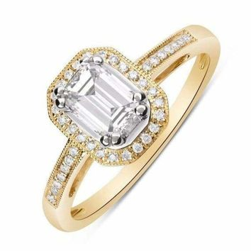 Luxinelle 14K Emerald Cut Diamond Halo Engagement Ring (Yellow Gold) 0.73TCW by Luxinelle® Jewelry