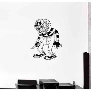 Wall Decal Scary Clown Monster Fear Horror Killer Knife Vinyl Sticker Unique Gift (ed630)
