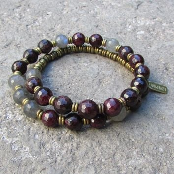 Love and Serendipity, Genuine Garnet and Labradorite 27 Bead Wrap Mala Bracelet