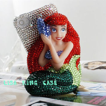 Bling rhinestone 3D mermaid  iphone 4 case iphone 4s case crystal  iphone 5 case samsung galaxy S3 i9300case