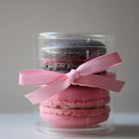 French Macaron Party Wedding Favor Cylinder Clear Box 2 French Macarons