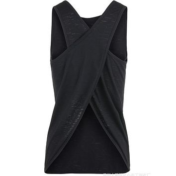 Sexy Women Tank Top Quick Dry Loose Fitness Vest Women's Workout Yoga T-Shirts Exercise Sports Vest G-399