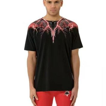 DKJN6 MARCELO BURLON COUNTY OF MILAN Lightning wings feather print round neck short-sleeved T-shirt