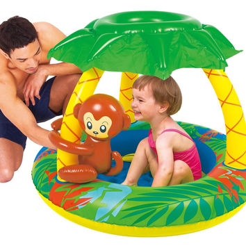 "40"" Inflatable Palm Tree Sun Shade Baby Pool with Monkey and Banana"