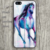 watercolor horse colorful iphone 6 6 plus iPhone 5 5S 5C case Samsung S3, S4,S5 case, Ipod touch Silicone Rubber Case Phone cover Waterproof