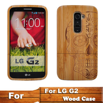 LG G2 Natural 100% Wood Bamboo Carving Coque Skull Mobile Phone Case