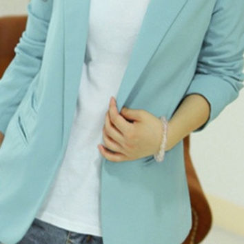 Hot Sale New Fashion Size L/M/S Black ,Light blue,Fushcia,White,Yellow Colored Women Candy Colored  Slim Blazer Women Blazer Jacket None Button Lapel Long Sleeve Suit Blazer Woman S6119 = 1705898564