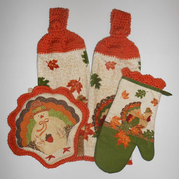 Autumn Kitchen Set, Thanksgiving Hanging Towels, Crochet, Turkey Pot Holder, Oven Mitt, Leaves, Fall Colors