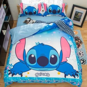 Stitch Printed Bedding Set Cartoon Bedspread Single Twin Full Queen King Size Bedclothes Children's Boy Bedroom Decor Blue Color