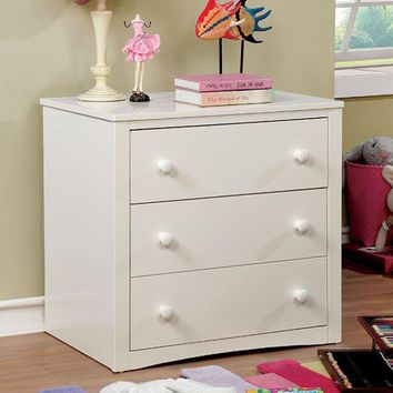 Elegant Wooden Chest with 3 Drawers, White