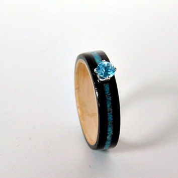 Ebony Wood Ring Swiss Blue Topaz with Turquoise inlay