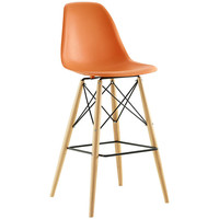 Wood Pyramid Bar Stool in Orange