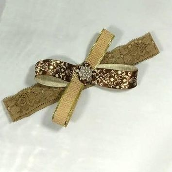 Brown Damask Ribbon and Burlap Bow Lace Headband /