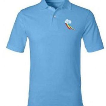 Licensed cool My Little Pony BRONY Rainbow Dash POLO Collar Blue Shirt SLIM FIT FIM 2XL NEW