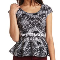 Back-Bow Tribal Print Peplum Top