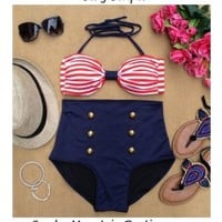 Sexy Stripes Retro High Waist Swimsuit (Red/White Striped Top & Blue Bottom)