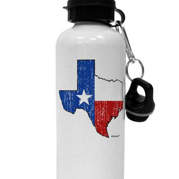 State of Texas Flag Design - Distressed Aluminum 600ml Water Bottle by TooLoud