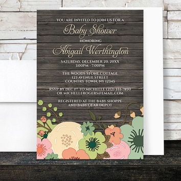 Floral Wood Baby Shower Invitations - Rustic Orange Teal Pink and Green Flowers over Brown - Printed Invitations