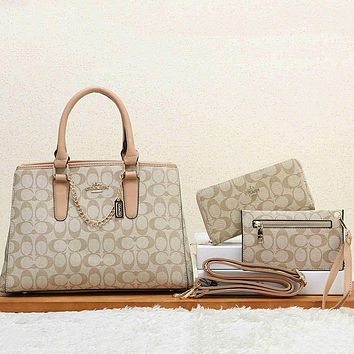 Coach Women Fashion Leather Satchel Tote Shoulder Bag Handbag Crossbody Wallet Three Piece Set