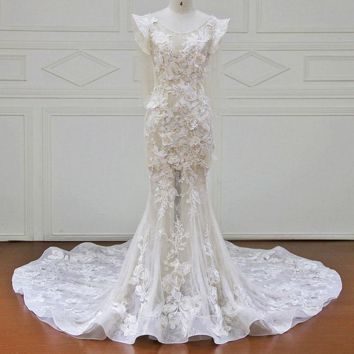 Wedding Dresses Lace Appliques Flower Beading Bridal Gowns Wedding Dress