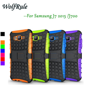 For Samsung Galaxy J7 Case Shockproof Silicone + Plastic Cover For Samsung Galaxy J7 SM-J700F Phone Stand For Samsung J7 2015 }<