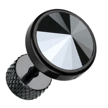 Blackline Pointy Faceted Crystal 316L Surgical Steel Fake Plug