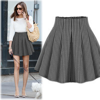 Black & White Patterned Pleated Mini Dress
