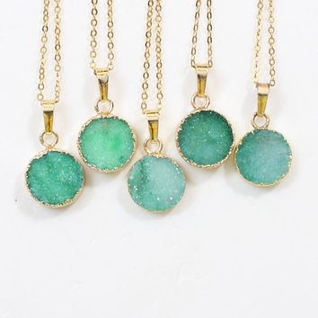 Round Green Druzy Necklace Handmade Drusy Geode Necklace wedding party birthday jewelry DJ-58