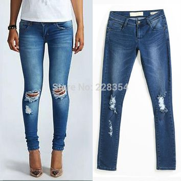 2014 Womens Ladies Loren Distressed Bleach Ripped Knee Skinny Jeans denim pant for feminino feminina
