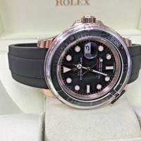 Rolex Yacht-Master Automatic Black Dial 18kt Everose Gold Black RubberStrap11665