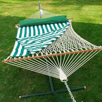 Double Size Cotton Rope Hammock, Pad, Pillow, and Hanging Hardware