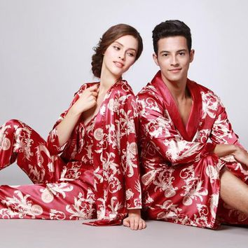 Men New Arrival Robe Chinese Style Kimono Hand-Made Painted Kaftan Robe Gown Bathrobe Sleepwear Robes