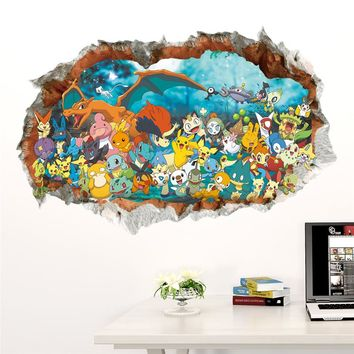 Cartoon Pokemon Go Wall Stickers for Kids Rooms Pikachu Wall Decal Poster Art Window Poster Mural Nursery Room Decor