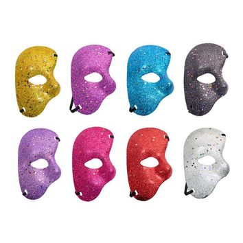 Halloween Party Decoration Plastic Mask Opera Phantom Ball Gold Powder Half Face Mask