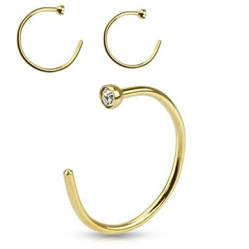 Gold IP Nose Hoop Ring