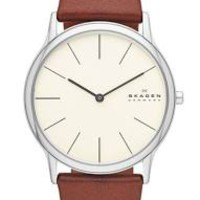 Skagen Theodor Cream Dial Brown Leather Strap Mens Watch SKW6083