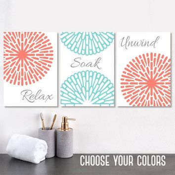 Coral Aqua Gray BATHROOM Wall Art, Coral Bathroom CANVAS or Print, Bathroom Pictures, Relax Soak Unwind, Bathroom Quotes Wall Decor Set of 3