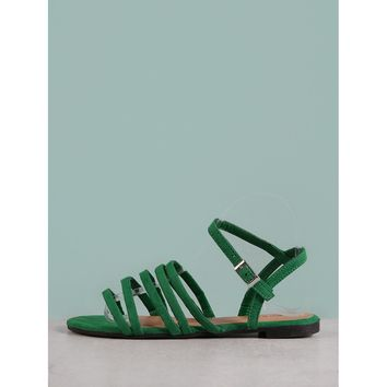 Faux Suede Strappy Flat Sandal