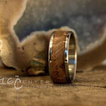 Stainless Steel Ring & Turquoise inlay Bentwood Ring, His or Her ring, Black Cherry Burl, Turquoise Ring, Engagement Ring, Anniversary Ring.
