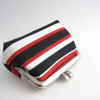 Frame Coin Purse- mini jewelry case with ring pillow- black red stripe