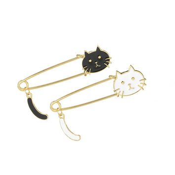 2Pce/Set White Black Cat Head Pins Cartoon Animal Kitten Brooch For Women Kids Jackets T-Shirt Bag Pin Badge Cute Jewelry Gift