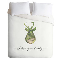 Allyson Johnson I Love You Deerly Silhouette Duvet Cover