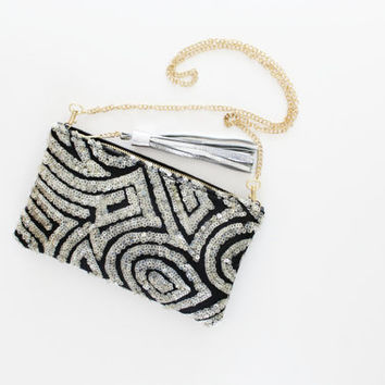 KATE 2 / Silver sequin & black velvet shoulder purse with leather tassel - Ready to Ship