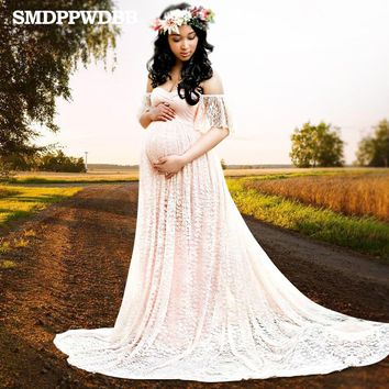 SMDPPWDBB Maternity Photography Props Maternity Dresses Plus Size Sexy Lace Fancy Pregnancy Dresses Photography White Gown Dress