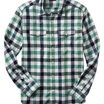 Gap Men Factory Buffalo Plaid Shirt Slim Fit