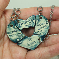 Friendship Heart pendants set of 4 pottery pieces Dark Blue Always together quote Ready To Ship