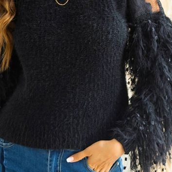 Cold Snap Long Sleeve Tassel Sheer Mesh Lace Round Neck Pullover Sweater - 3 Colors Available - 3 Colors Available