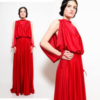 70s Burgundy Red Draped Grecian Goddess Accordion Pleated Batwing Poet Sleeve Maxi Dress S M