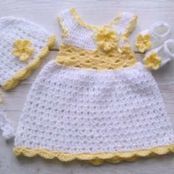 Crochet dress  baby dress set in white and yellow dress hat shoes headband  take home hospital matinee infant frock newborn dress